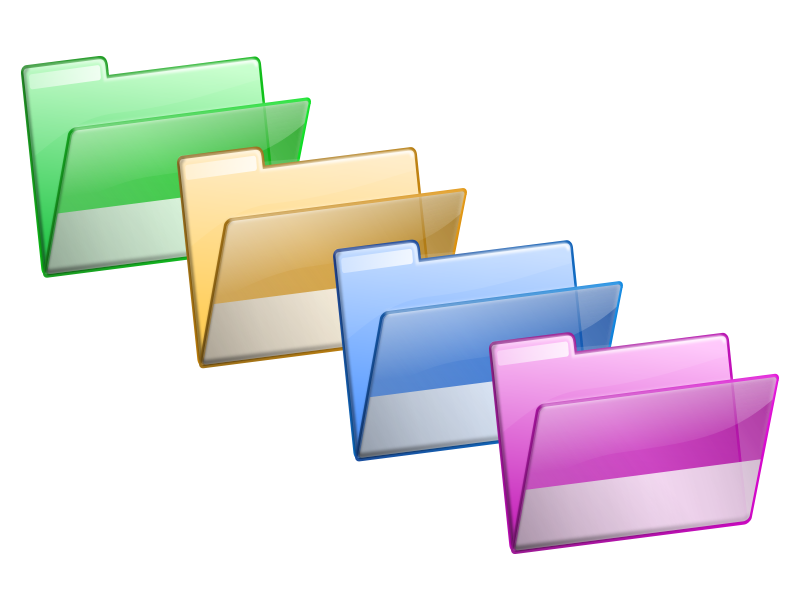 Free Simple Green Yellow Blue Violet Folders