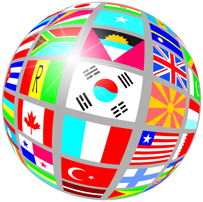 Free globe of flags