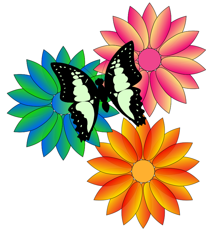 Free butterfly and flowers