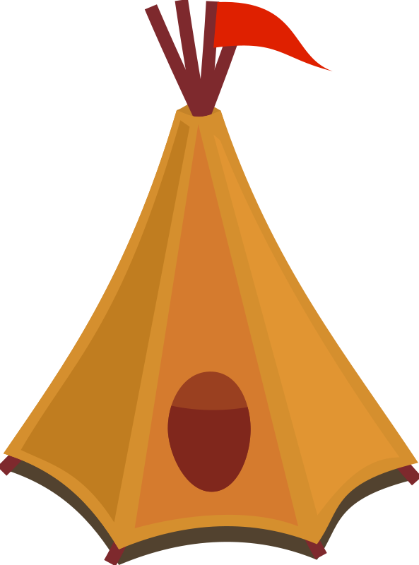 Free Cartoon tipi / tent with red flag
