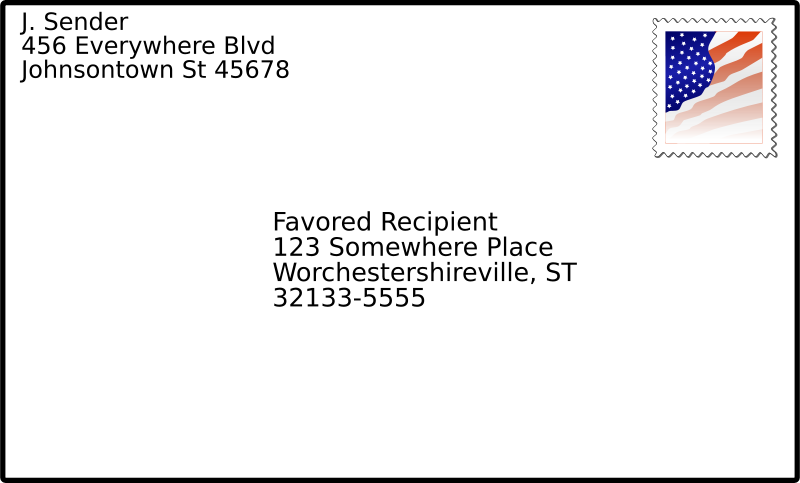 Free addressed envelope with stamp