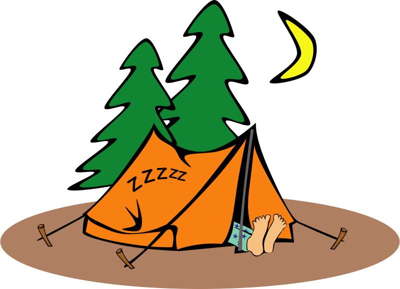 Free Clipart: Sleeping in a tent | Objects