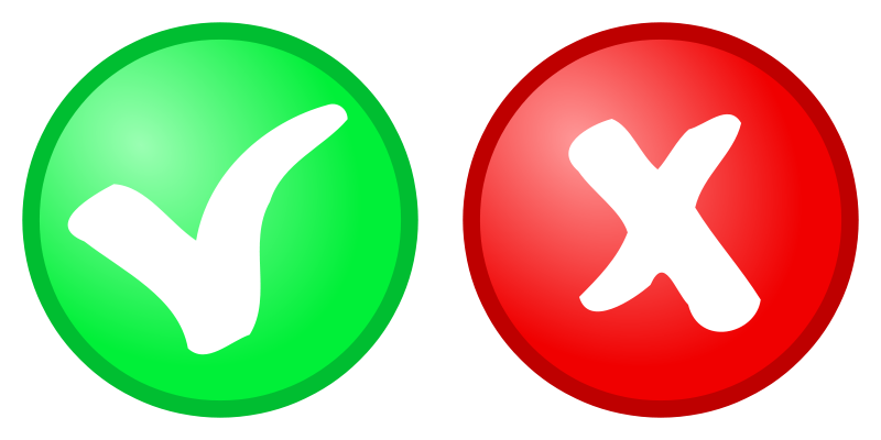 Free red + green OK, not OK Icons