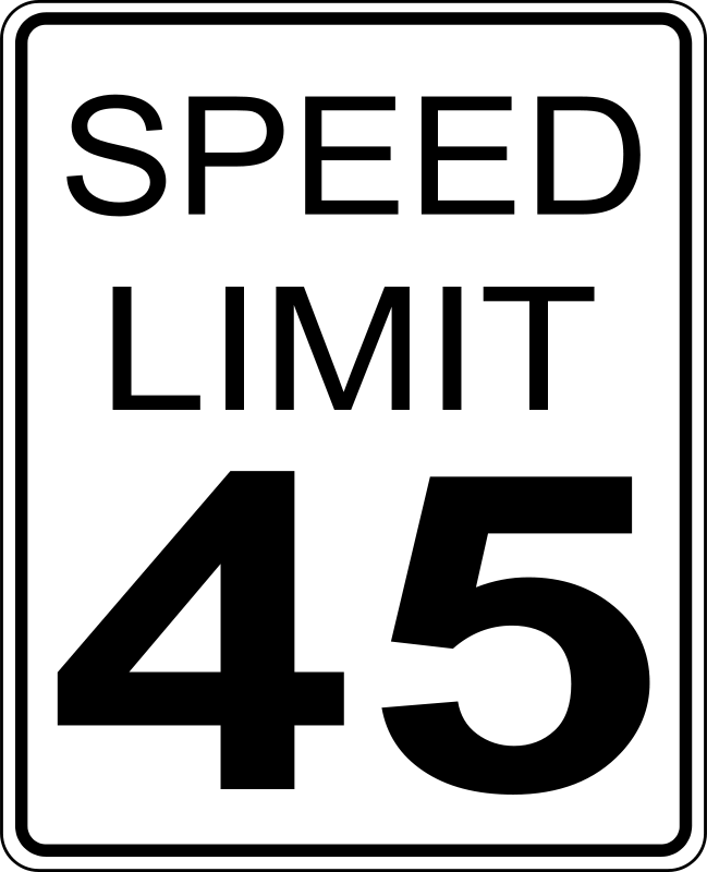 Free CA speed limit 45 roadsign