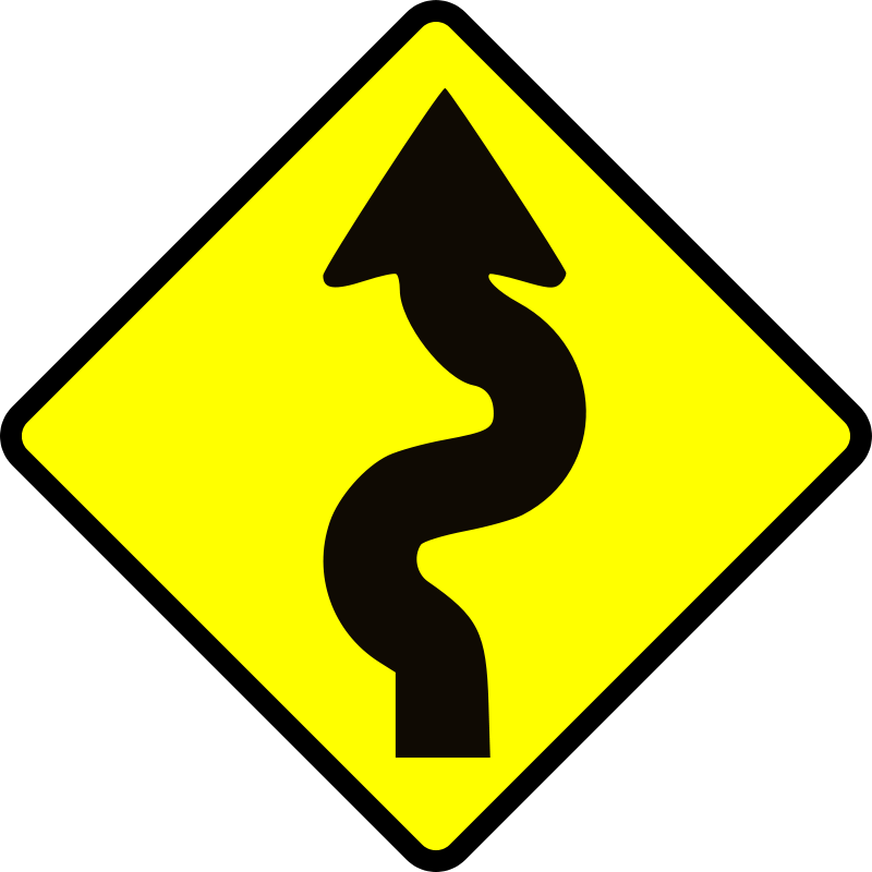 Free caution_winding road