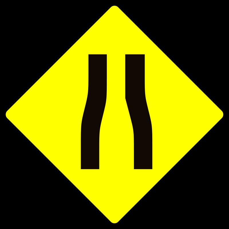 Free caution_road narrows