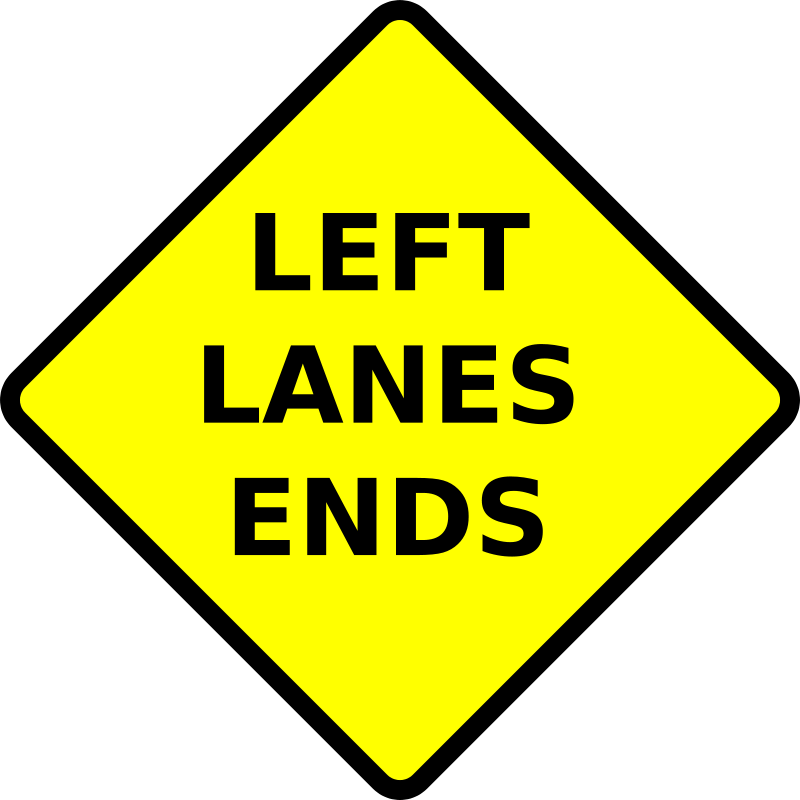 Free caution_left lane ends