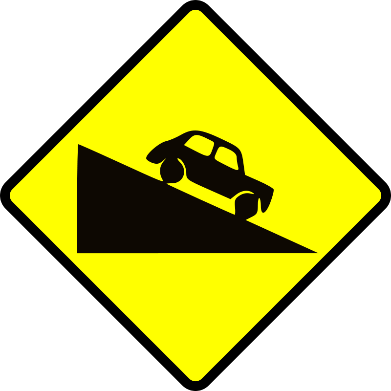 Free caution_steep hill down