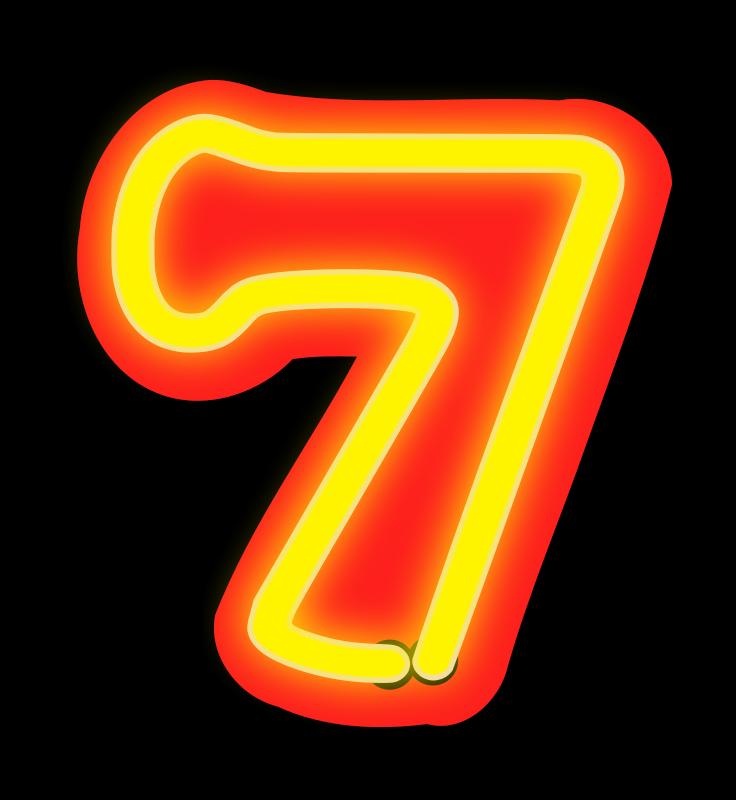 Free Neon Numerals-7
