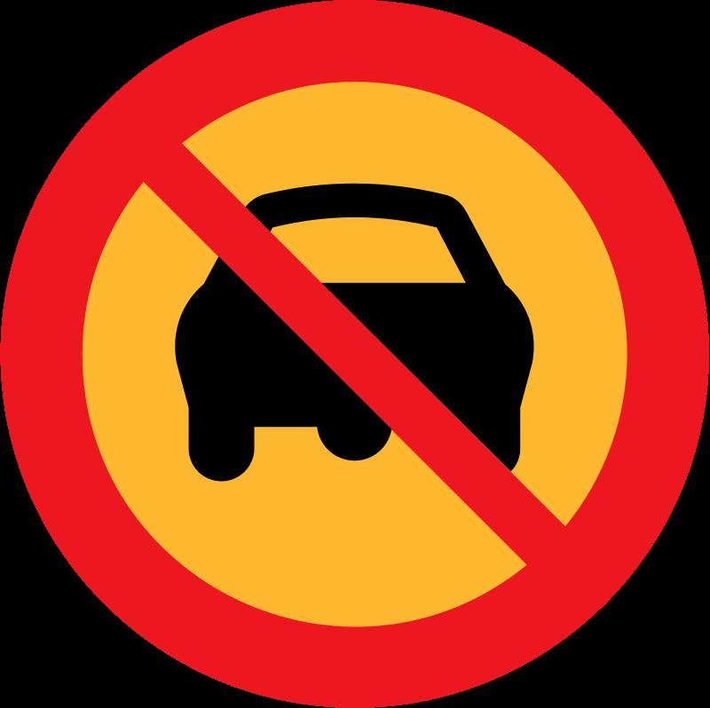 Free no cars sign
