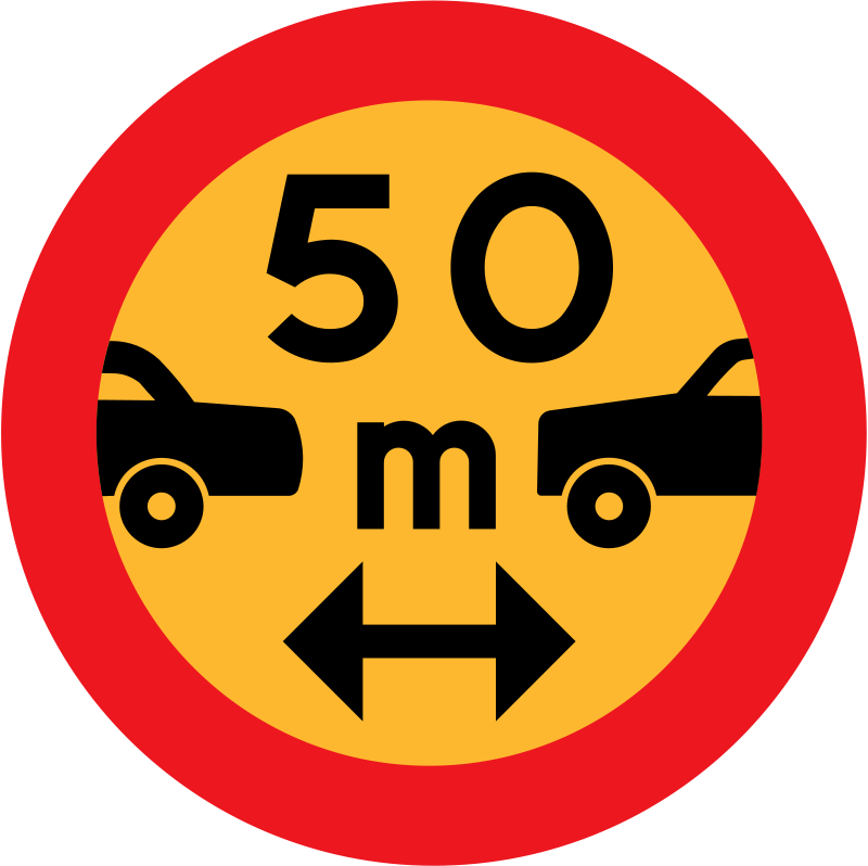 Free 50m between cars sign