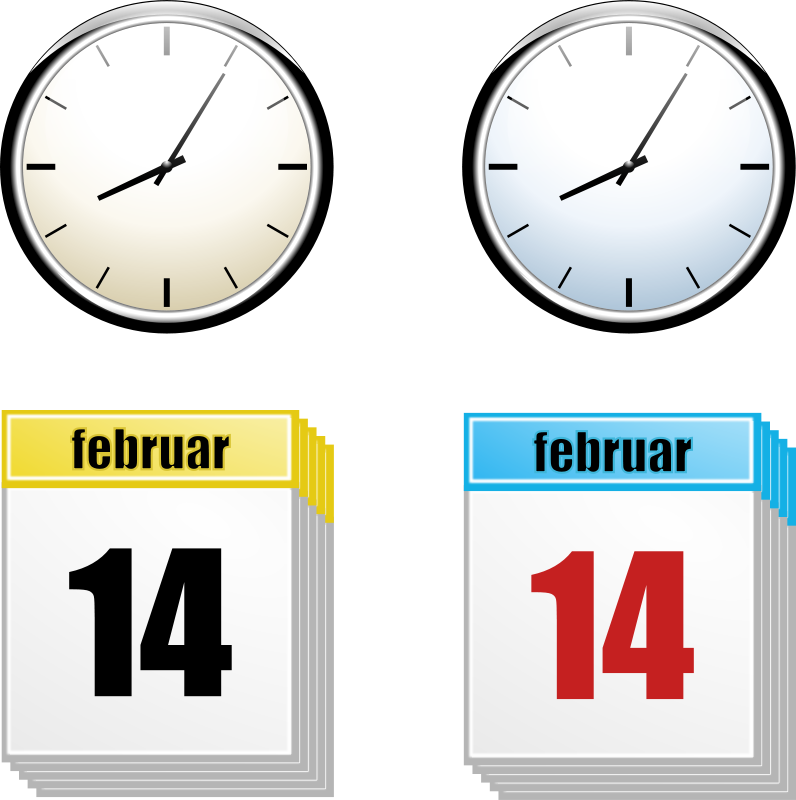 Free Clipart: Clock + Calendar   rihard