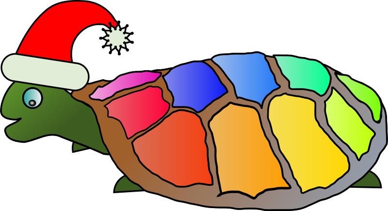 Free Funny turtle with santa hat