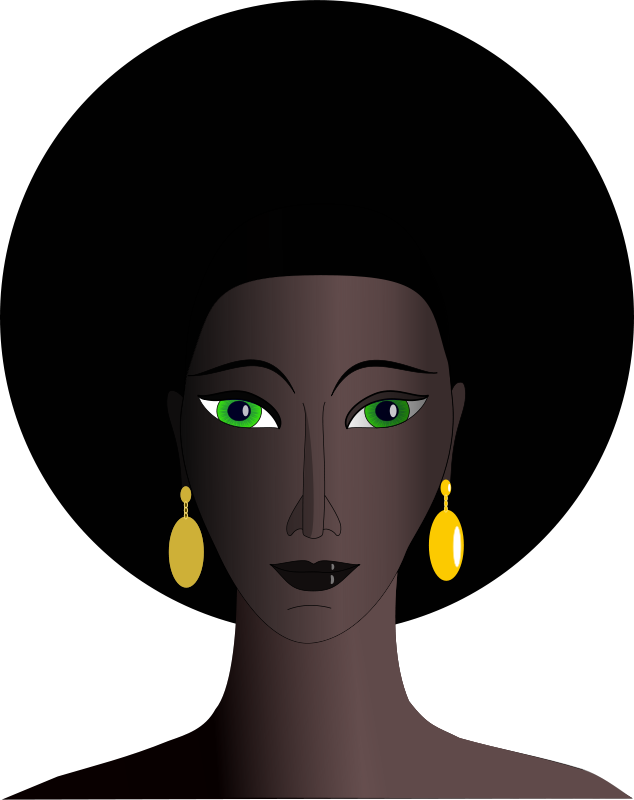 Free black woman with green eyes