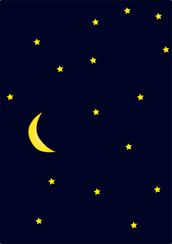 Moon night. Free clipart in dark