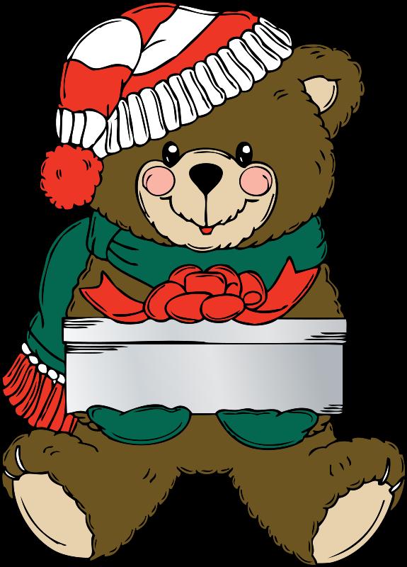 Free Christmas Bear wih present