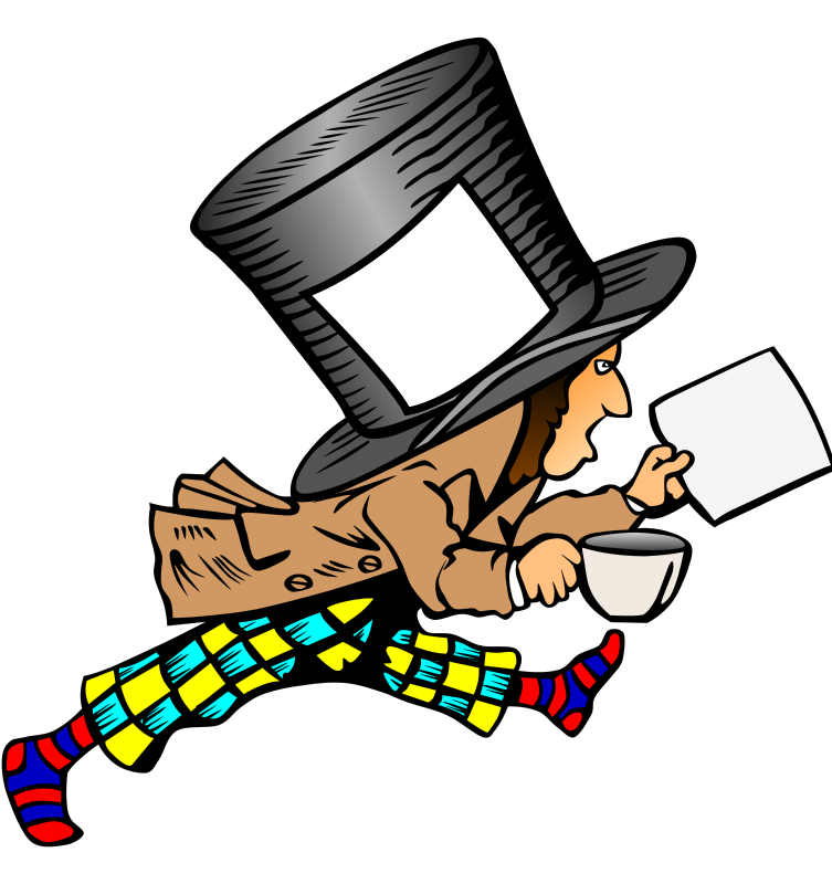 Free mad hatter with clean label on hat holding paper