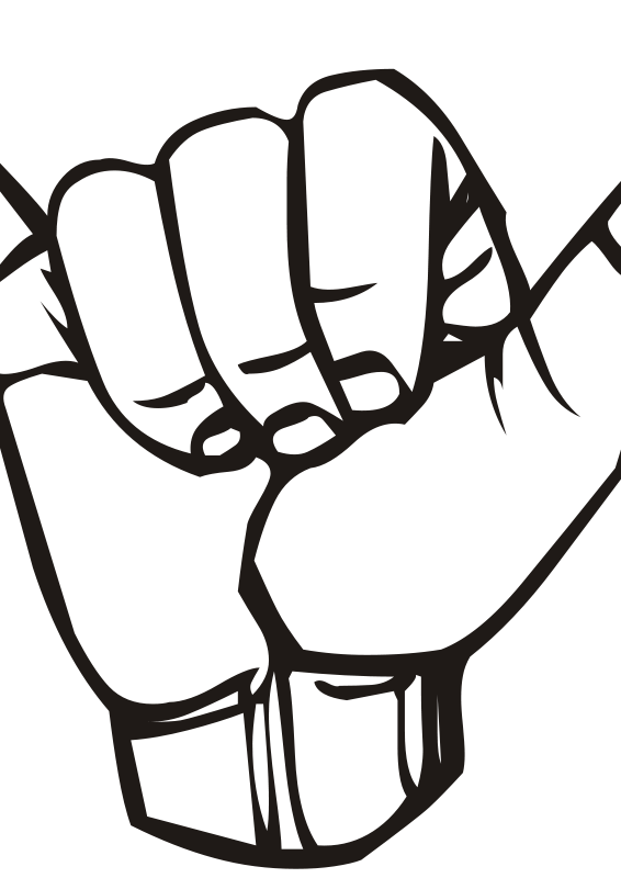 Free Clipart Sign Language Y Hang Loose