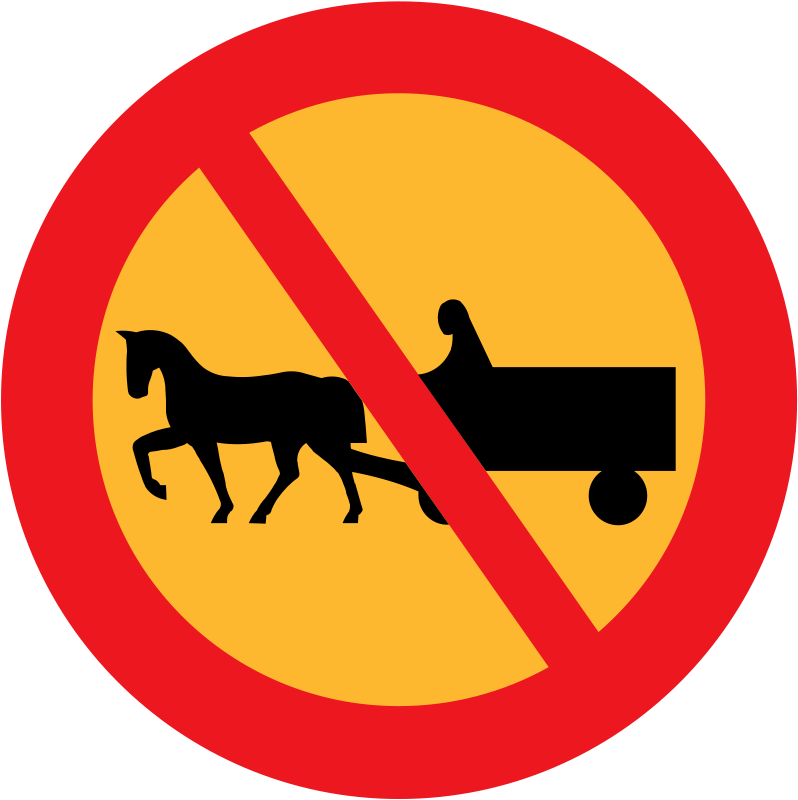 Free No horse and carts sign