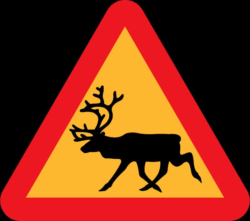 Free Warning Reindeer Roadsign