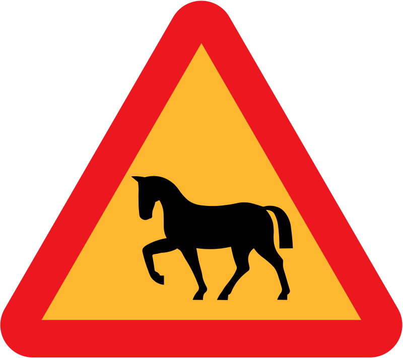 Free Warning Horses Roadsign
