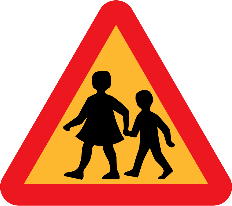 Free children crossing road sign