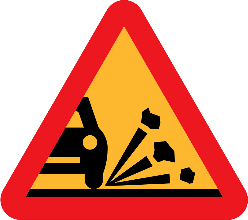 Free Loose stones on the road roadsign