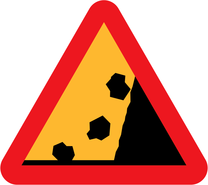 Free Falling Rocks from RHS roadsign