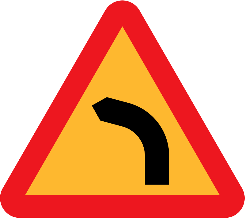 Free Dangerous bend, bend to left
