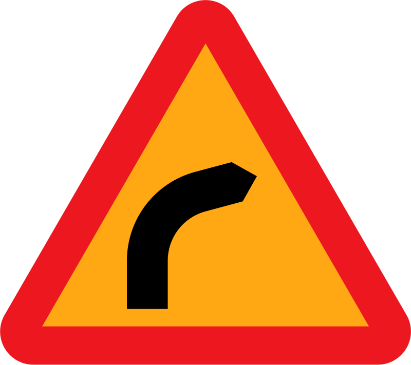 Free Dangerous bend, bend to right.