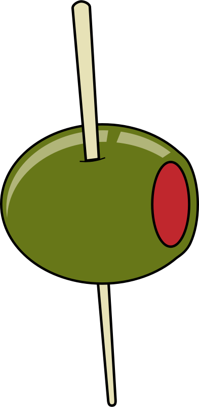 Free green olive on a toothpick
