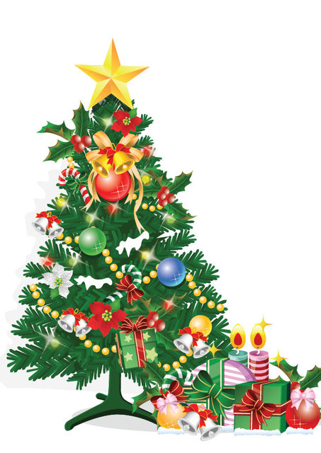 Free Decorative Spruced Christmas Tree with Gift Boxes