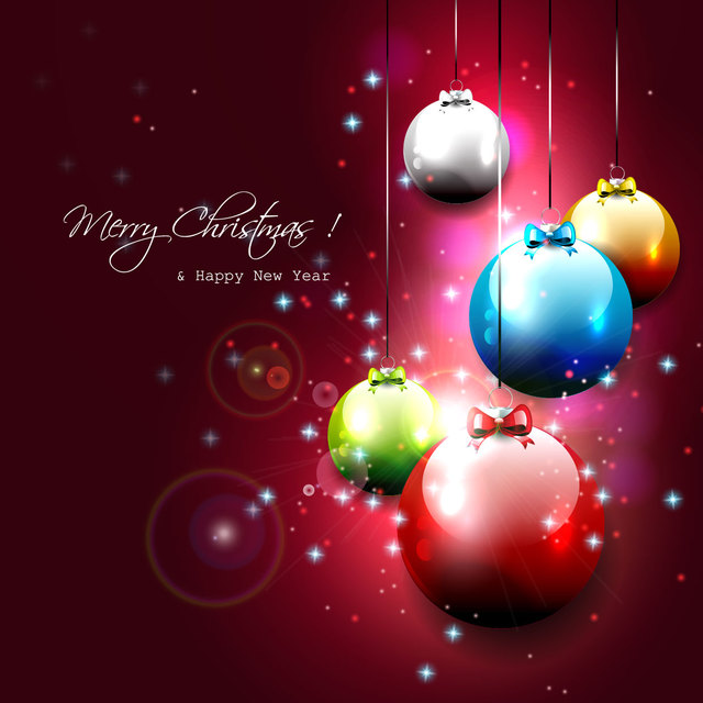Free Multicolor Glossy Christmas Balls on Red Background