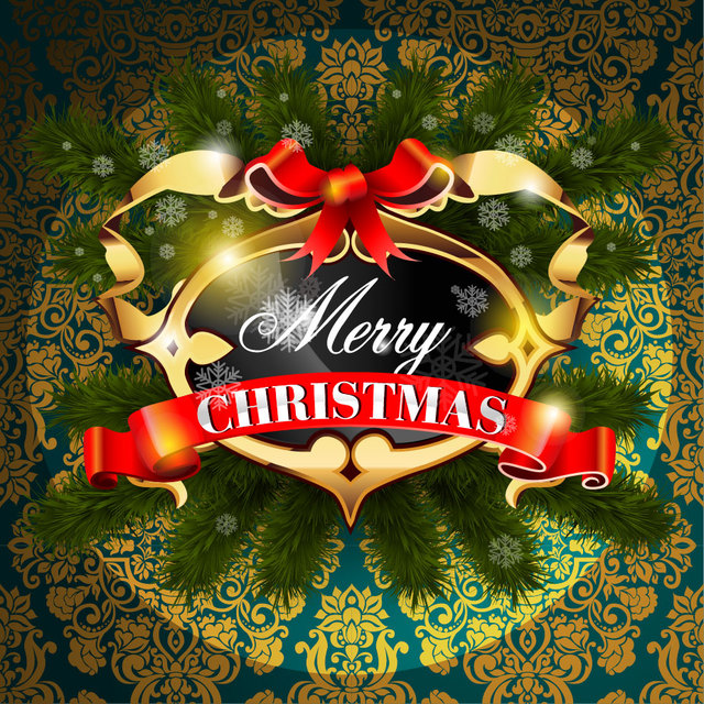 Free Decorative Golden Christmas Frame on Floral Pattern
