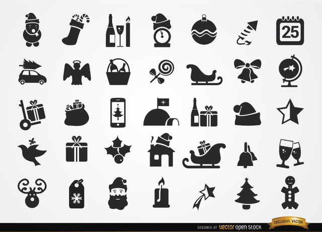 Free Vectors: 35 Flat Christmas icons | Vector Open Stock