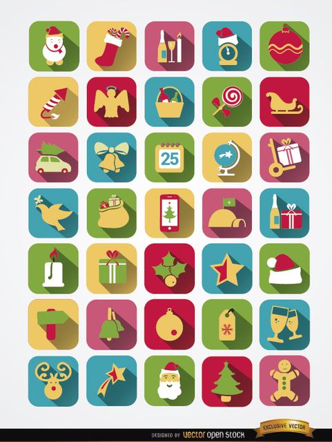 Free 35 Colorful squared Christmas icons