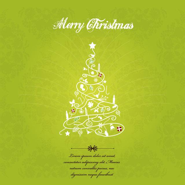 Free Hand Sketch Decorative Christmas Tree Greeting Card