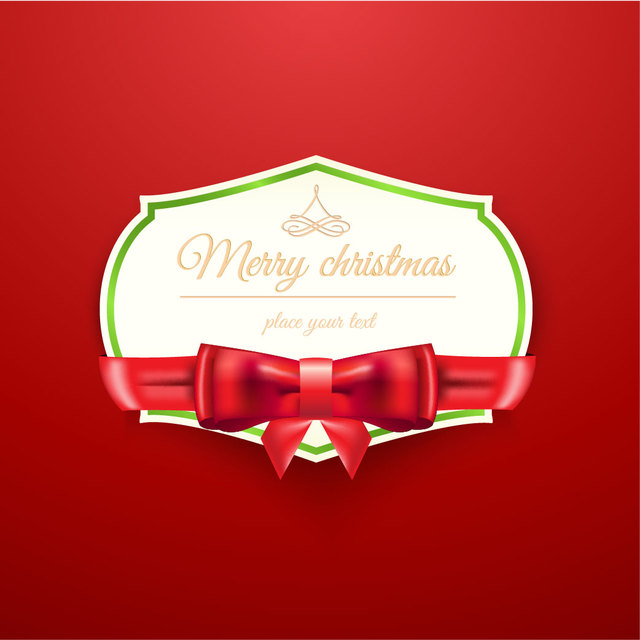 Download vector christmas invitation with ribbon on red background christmas invitation with ribbon on red background stopboris Choice Image