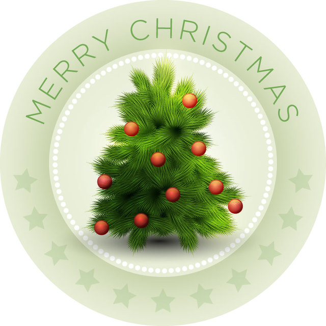 Free Vintage Christmas Emblem with Mistletoes