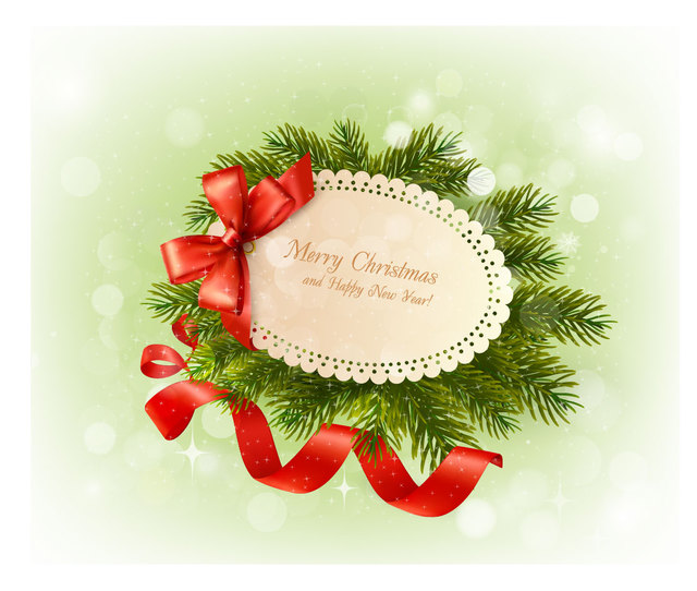 Free Vectors: Christmas Greeting on Green Branch with Ribbons | CGvector