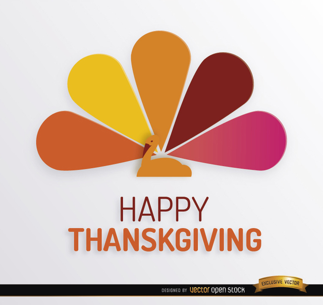Free Thanksgiving turkey colorful tail background