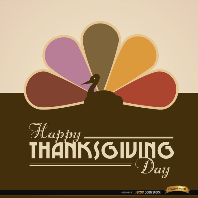Free Happy Thanksgiving turkey colored tail background