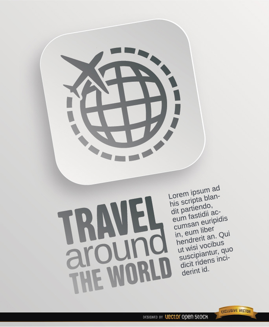 Free World travel symbol poster