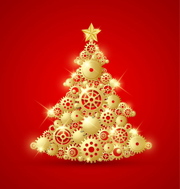 Free Golden Decorative Christmas Tree with Gears