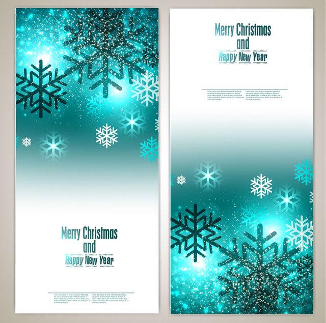 Free Glowing Blue Vertical Christmas Brochure
