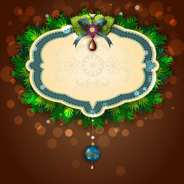 Free Decorative Christmas Invitation on Green Wreath
