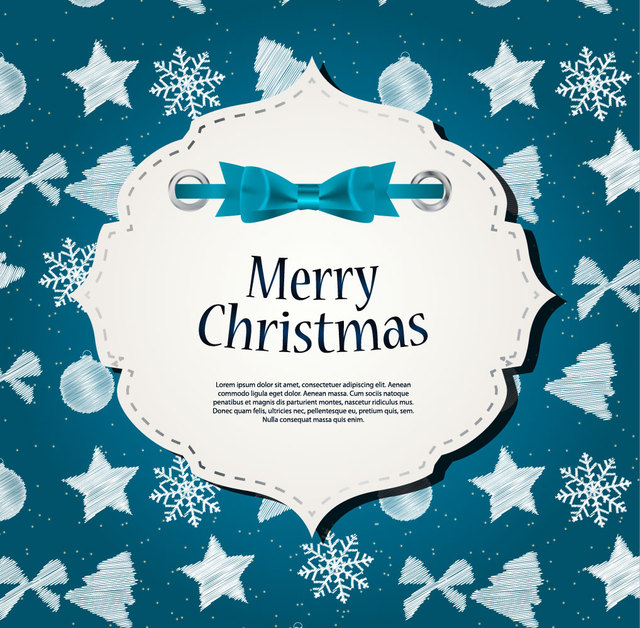 Free Decorative Christmas Banner On Blue Background