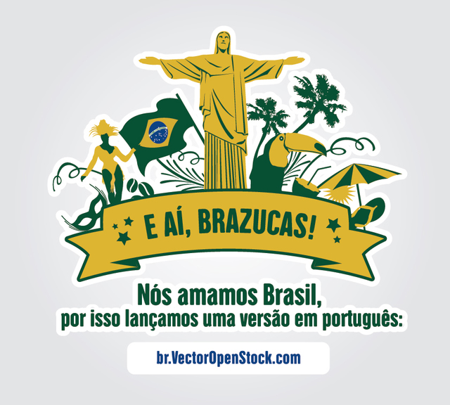Free We love Brazil symbols label