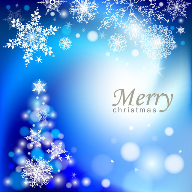 Free Elegant Blue Abstract Christmas Tree Background