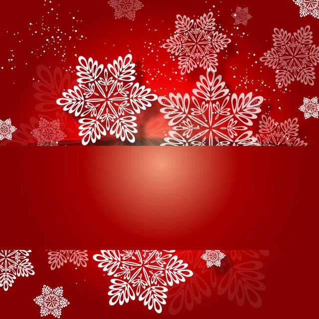 Free Red Christmas Invitation with White Snowflakes